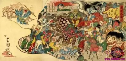 《阴阳师》《百鬼夜行抄》漫画《百变狸猫》《百鬼夜行绘卷》:付丧神,女妖阿岩,辘轳首,辘轳首,河伯,骨女,藤娘,怨灵都来自