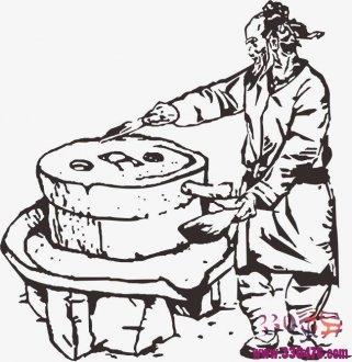 黑白无常为赚银子在豆腐坊推磨做豆腐