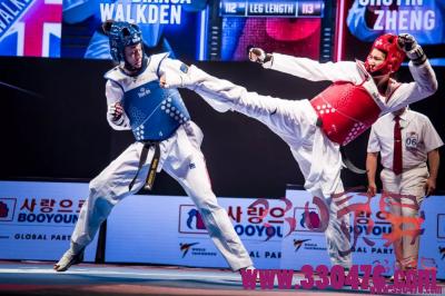 世界跆拳道锦标赛女子73公斤决赛中郑姝音20:10领先英国沃克顿却痛失冠军金牌